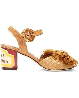 Keira Ceramic-heel Raffia Sandals