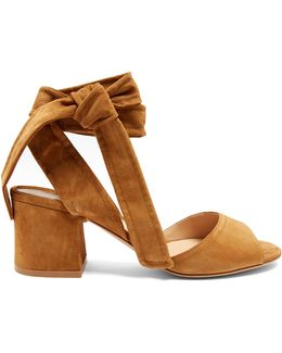Ankle-tie Suede Sandals