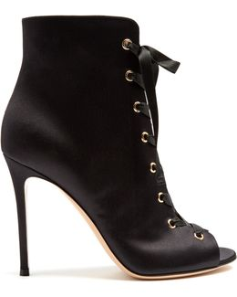 Satin Lace-up Boots