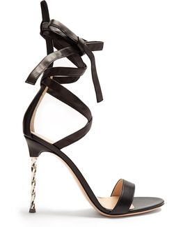 Cocktail Ankle-tie Leather Sandals