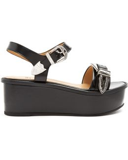 Buckle Leather Flatform Sandals