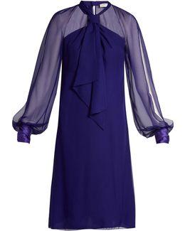 Halterneck Balloon-sleeved Voile Dress