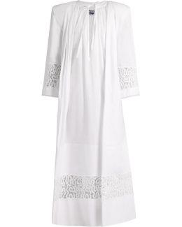 Tie-neck Lace-insert Cotton Maxi Dress