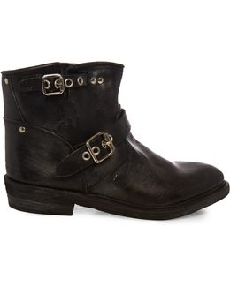 Biker Leather Ankle Boots