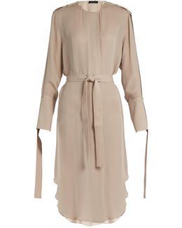 Leryn Round-neck Silk-georgette Dress