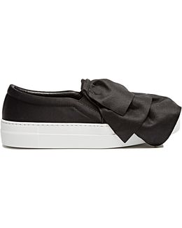 Frill Satin Slip-on Trainers