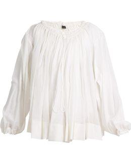 Drawstring-neck Cotton-blend Blouse