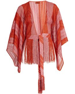 Fringed Fine-knit Cropped Kaftan
