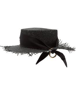 Frayed-edge Panama Woven-paper Hat