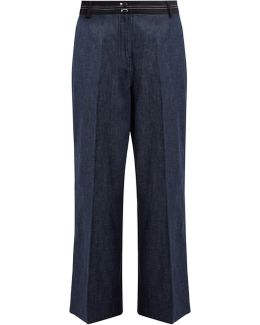 Hudson Wide-leg Cropped Cotton-blend Trousers