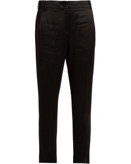 Foster Satin Mid-rise Cropped Trousers