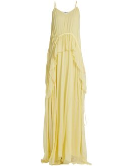 Catriona V-neck Sleeveless Silk-crepon Gown