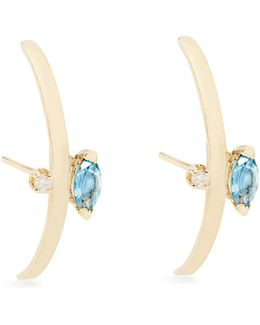 Diamond, Topaz And Yellow-gold Earrings