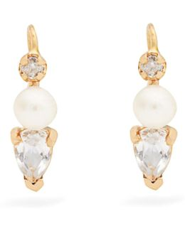 Diamond, Topaz, Pearl & Yellow-gold Earrings