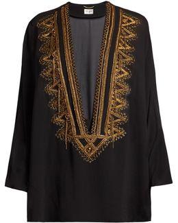 Embroidered V-cut Silk-georgette Top