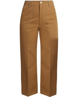 Contrast-stitch Cotton Cropped Trousers
