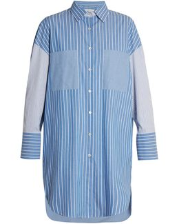 Long-line Striped Cotton Shirt