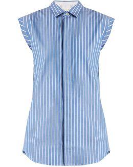 Buttoned-back Striped Cotton Sleeveless Shirt