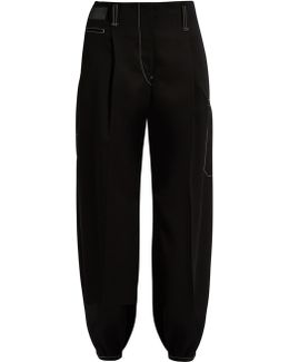 Contrasting-stitch Tapered Wool Trousers