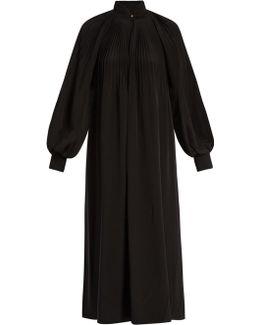 Pleated Silk Crepe De Chine Maxi Dress