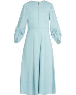 Marta Ruched-sleeve Linen-blend Dress