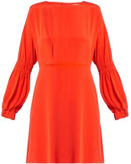 Balloon-sleeved Silk-crepe Dress