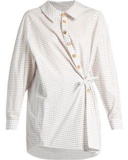Wrap-effect Checked Cotton Shirt