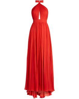Halterneck Silk-georgette Gown