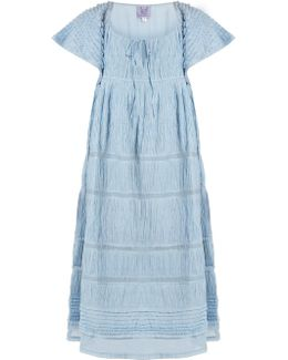 Raffia Ruched Cotton-blend Voile Dress