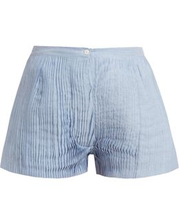 Armand Pleated Cotton And Silk-blend Voile Shorts