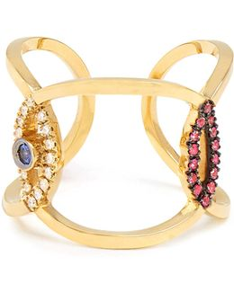 Diamond, Ruby, Sapphire & Yellow-gold Ring