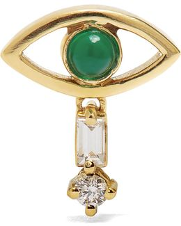 Diamond, Emerald & Yellow-gold Earring