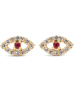 Diamond, Ruby & Rose-gold Earring
