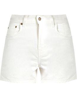 High-rise Hem-slit Denim Shorts