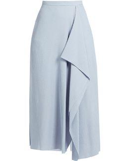 Upton Chevron-embroidered Crinkled-crepe Skirt
