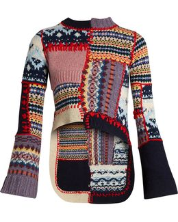 Patchwork Wool-blend Sweater