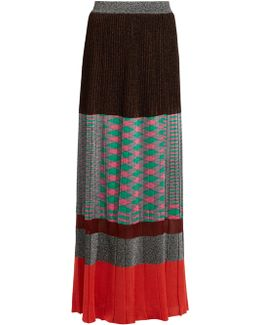 Pleated Panelled Knit Maxi Skirt