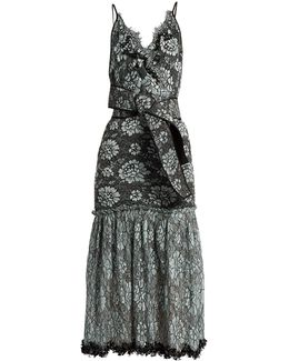 Bead-embellished Lace Cotton-blend Faille Dress