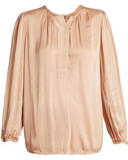 Long-sleeved Satin Blouse