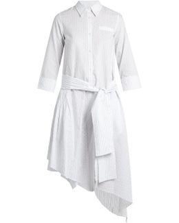 Layla Asymmetric-hem Striped Cotton Dress