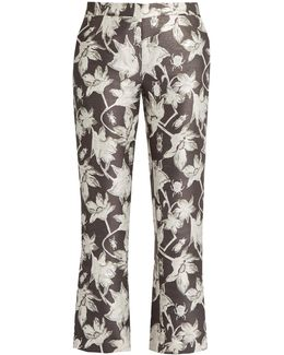 Yasmin Floral And Bug-brocade Cropped Trousers