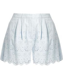 Broderie-anglaise Cotton And Silk-blend Shorts