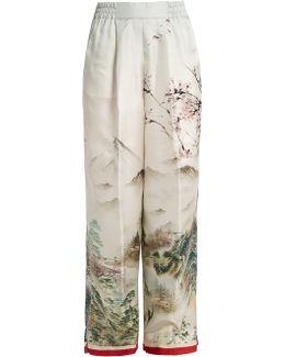 Japanese-print Silk Pyjama Trousers