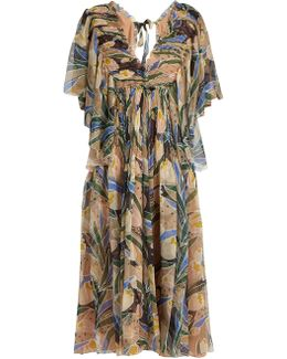 Tulip-print Silk-chiffon Midi Dress