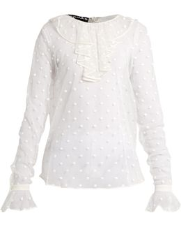 Polka-dot Embroidered Tulle Blouse