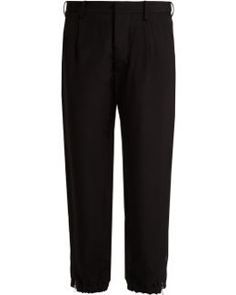 Twill Tapered Cropped-leg Trousers