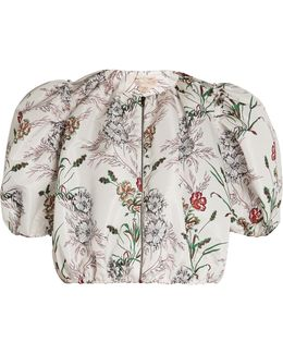 Floral-print Faille Cropped Jacket