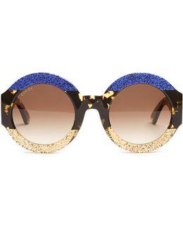 Tri-colour Round-frame Acetate Sunglasses