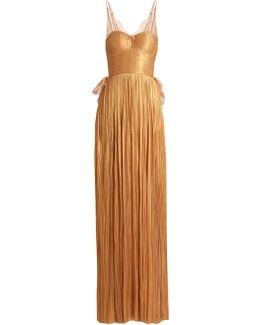 Erica Pleated Silk-tulle Gown