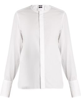 Collarless Cotton Shirt